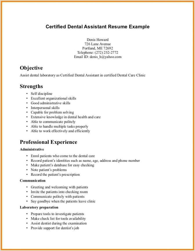Entry Level Dental Assistant Resume Timhangtot Net Objective