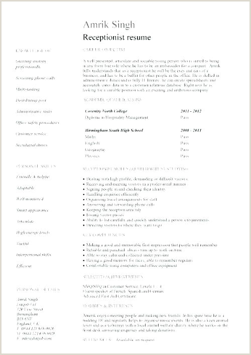 Medical Receptionist Resume New Template Free Templates