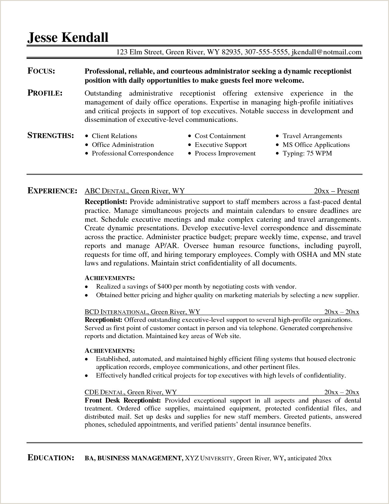 Sample Resume Examples Administrative Correspondence New 30