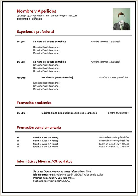 Descargar Curriculum Vitae Para Rellenar Basico Gua】¿c³mo Hacer Un Curriculum Vitae ➤ Plantillas Para Cv