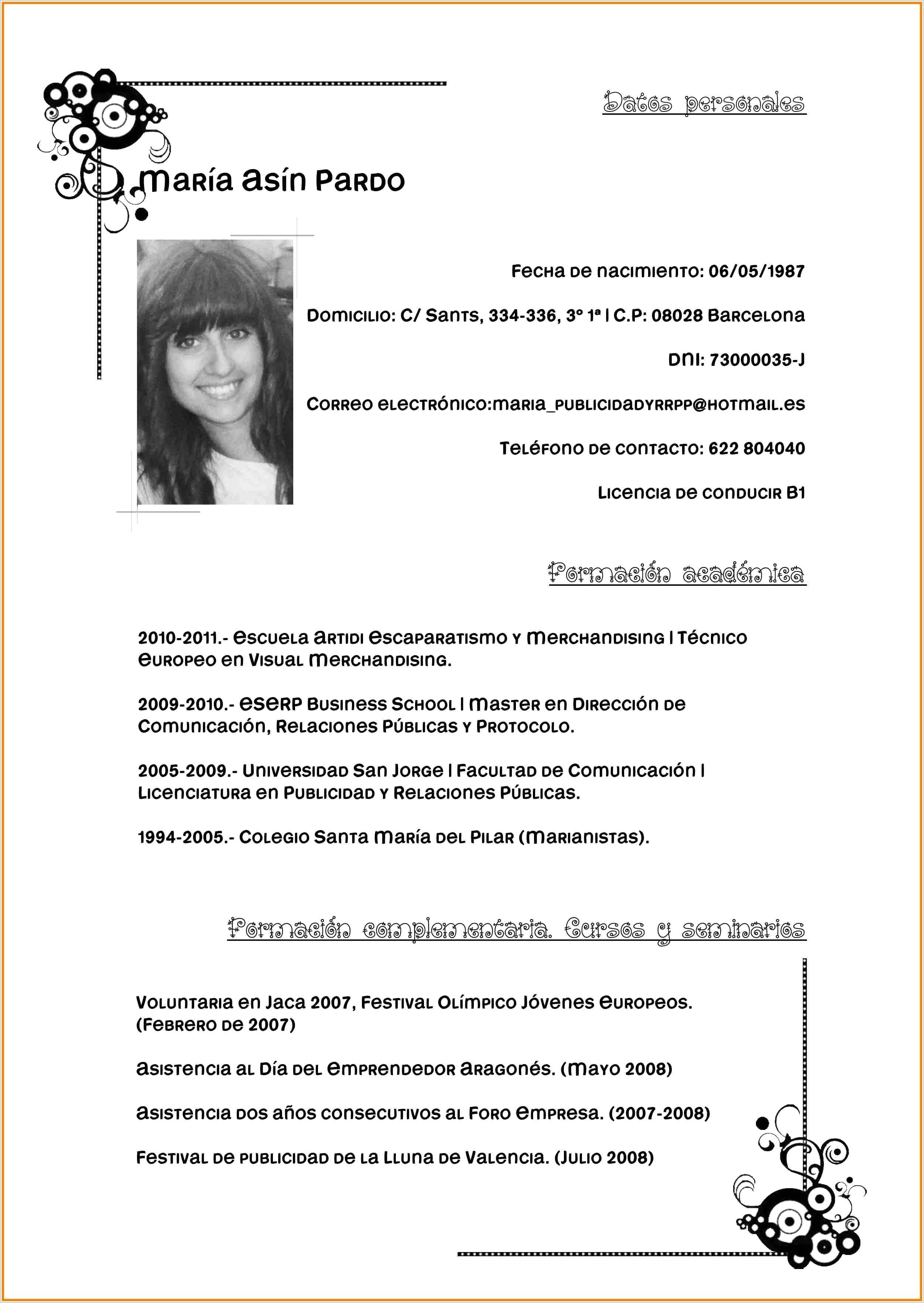 Descargar Curriculum Vitae Para Rellenar Con Foto Descargar Gratis Curriculum Vitae Para Rellenar Imágenes De
