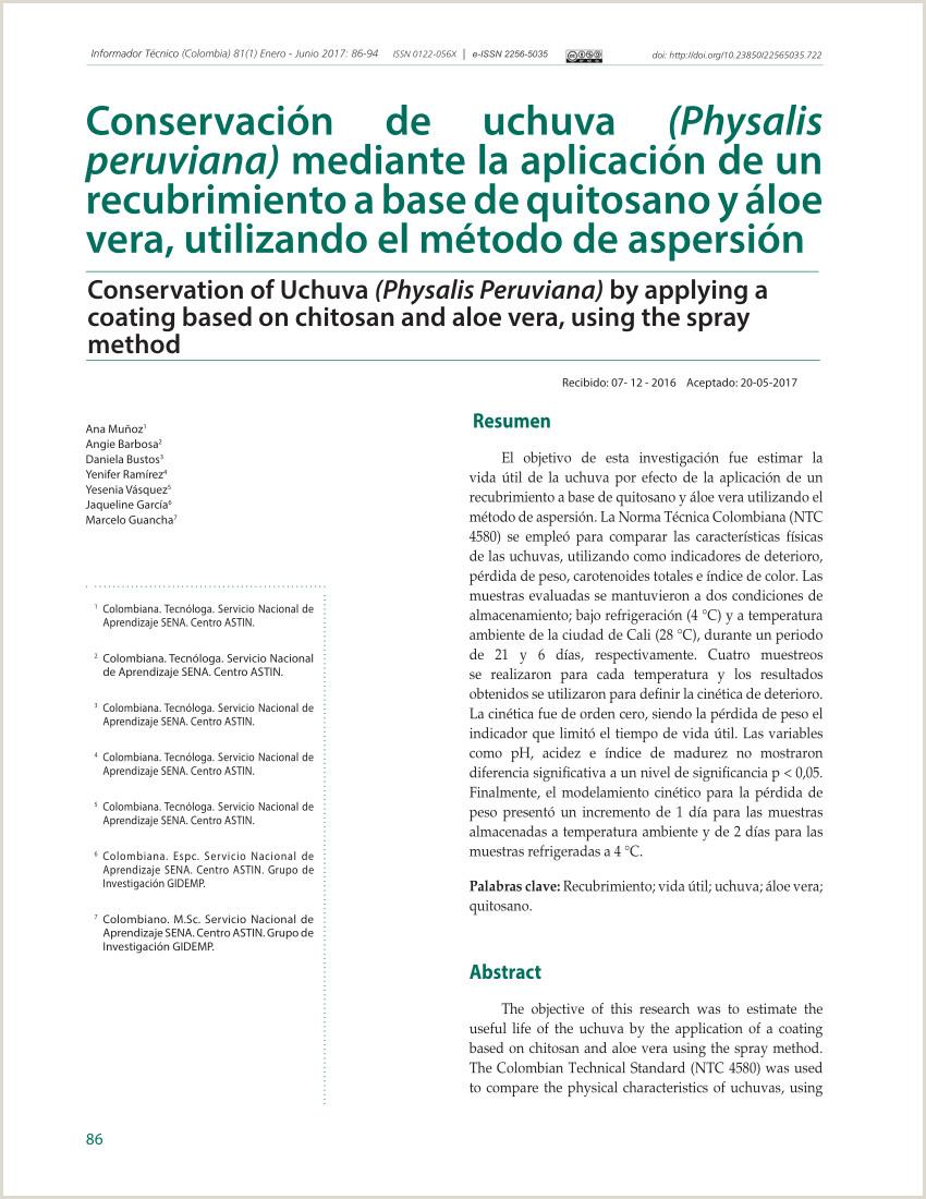 PDF Conservaci³n de uchuva Physalis peruviana mediante la