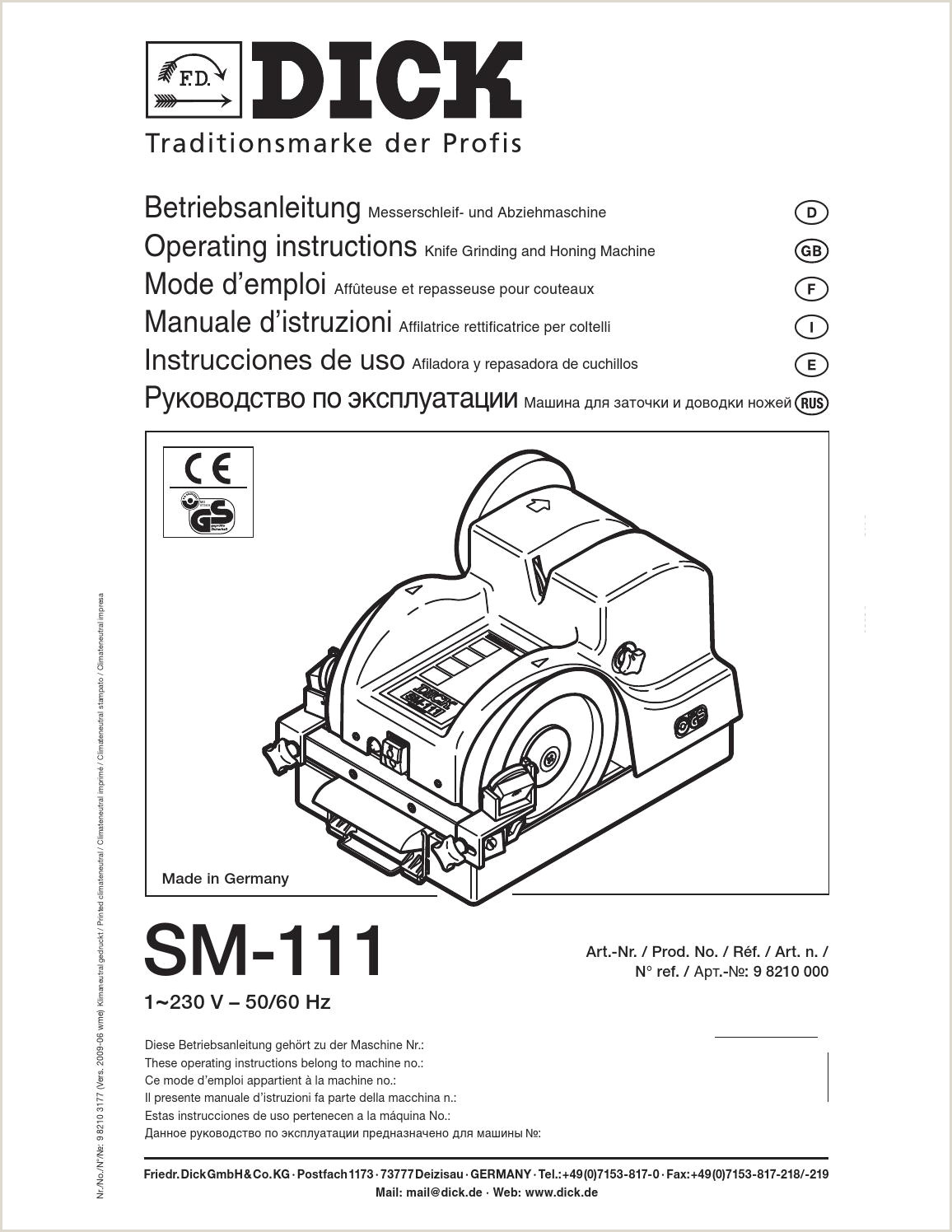 Manual Afiladora SM 111 DICK by Food Technology SA issuu
