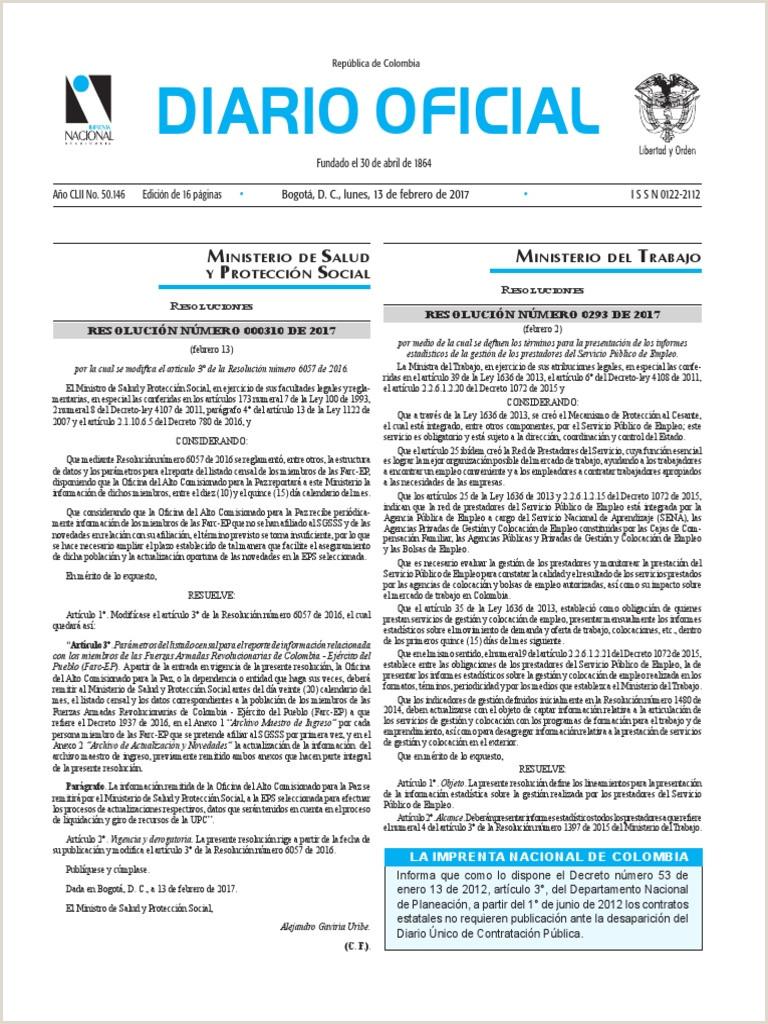 Descargar Hoja De Vida Colombia 2019 Diario Oficial De Colombia N° 50 146 13 De Febrero De 2017