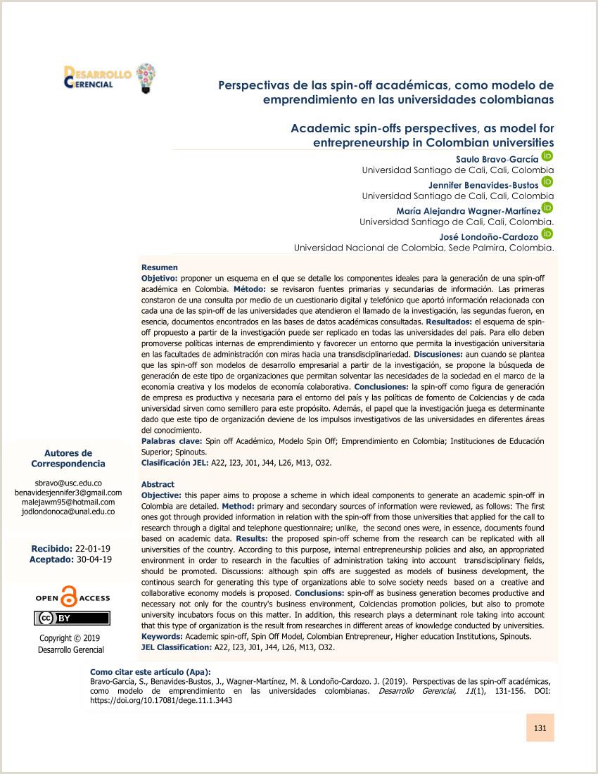 Descargar Hoja De Vida Colombia 2019 Pdf Perspectivas De Las Spin Off Académicas O Modelo De