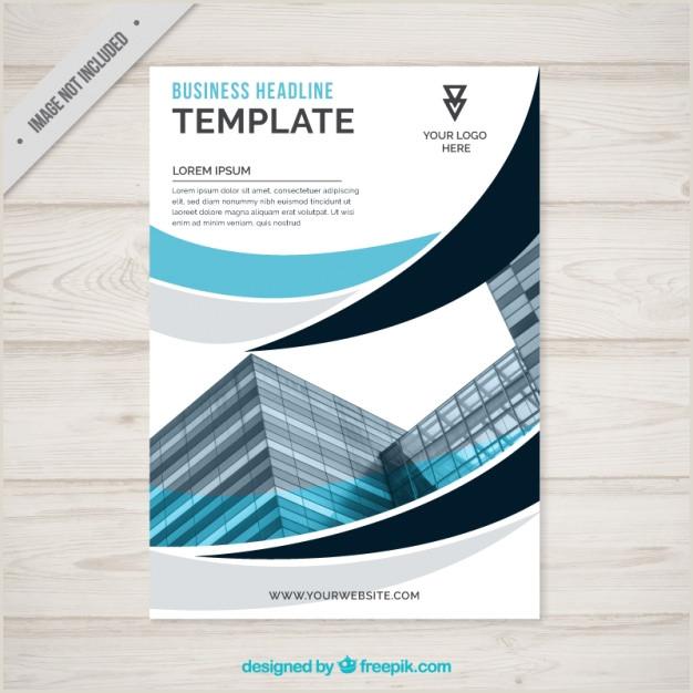 Plantilla de folleto empresarial con formas onduladas en