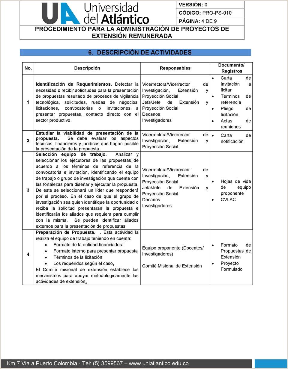 """PROCEDIMIENTO PARA LA ADMINISTRACI""""N DE PROYECTOS DE"""