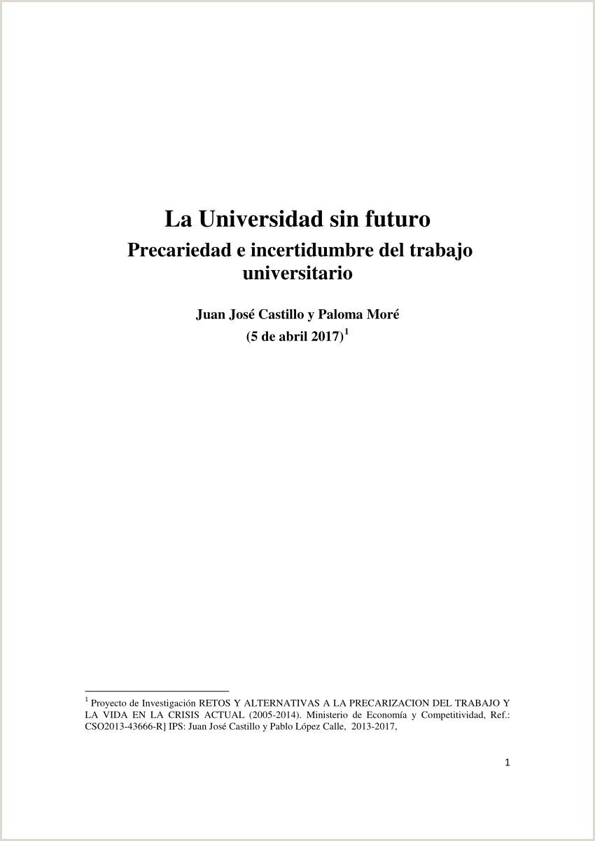Descargar Hoja De Vida Del Ministerio De Trabajo Pdf La Universidad Sin Futuro Precariedad E Incertidumbre