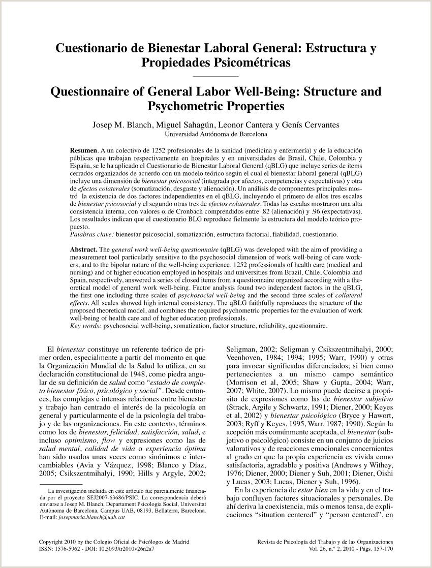 Descargar Hoja De Vida Laboral Pdf Cuestionario De Bienestar Laboral General Estructura Y