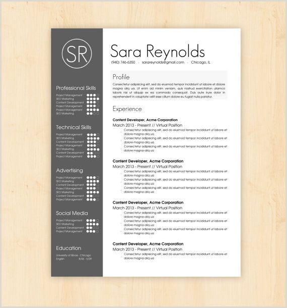 Resume Template CV Template The Sara Reynolds Resume