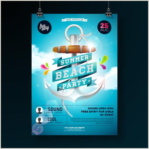 Summer Beach Party Flyer Design con ancla Descargar