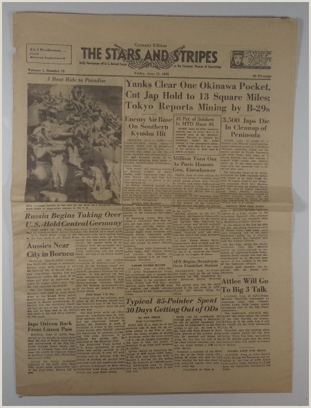 Details about VINTAGE 1945 JUNE 15 THE STARS AND STRIPES German Edition US Military Newspaper