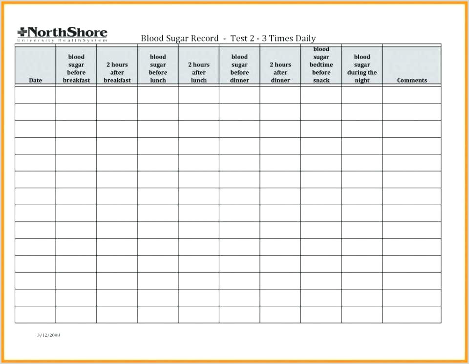 A Blood Sugar Chart Template And Diabetic Levels