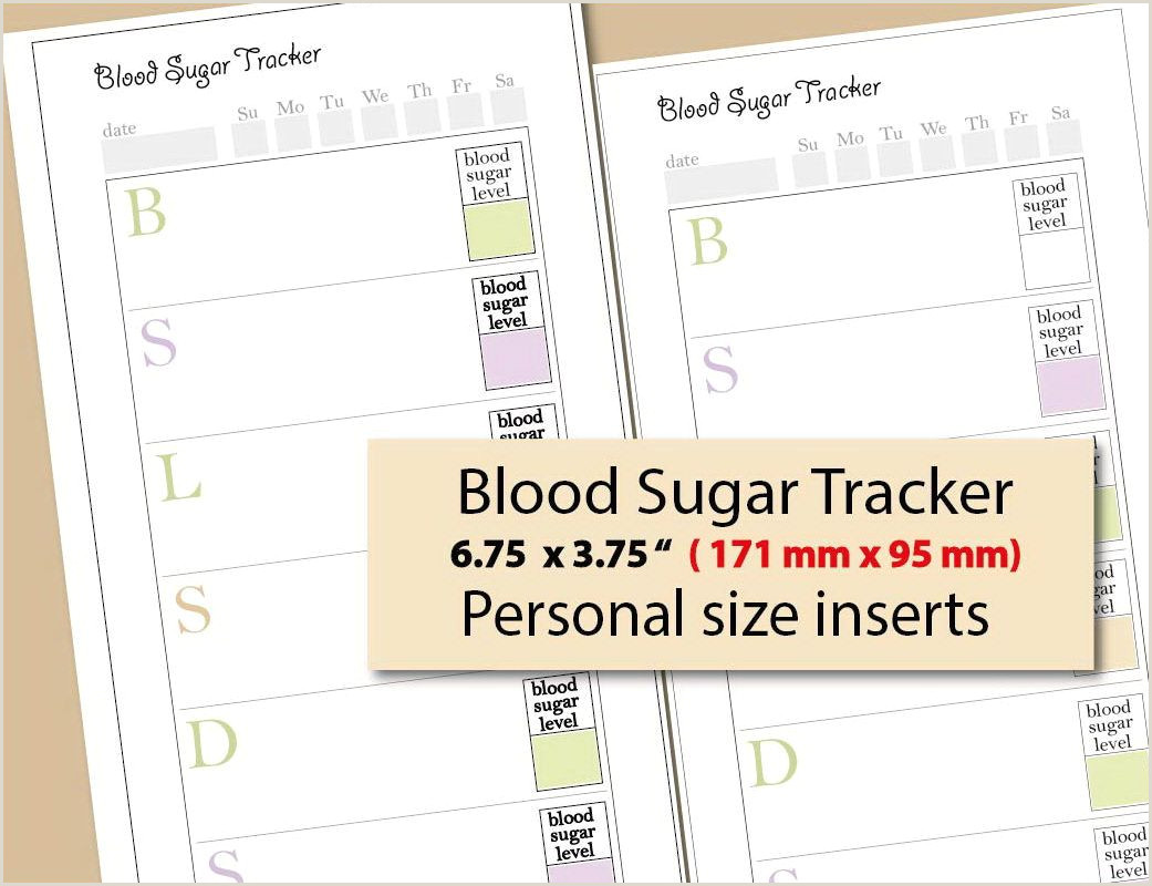 blood sugar log personal size inserts blood sugar tracker