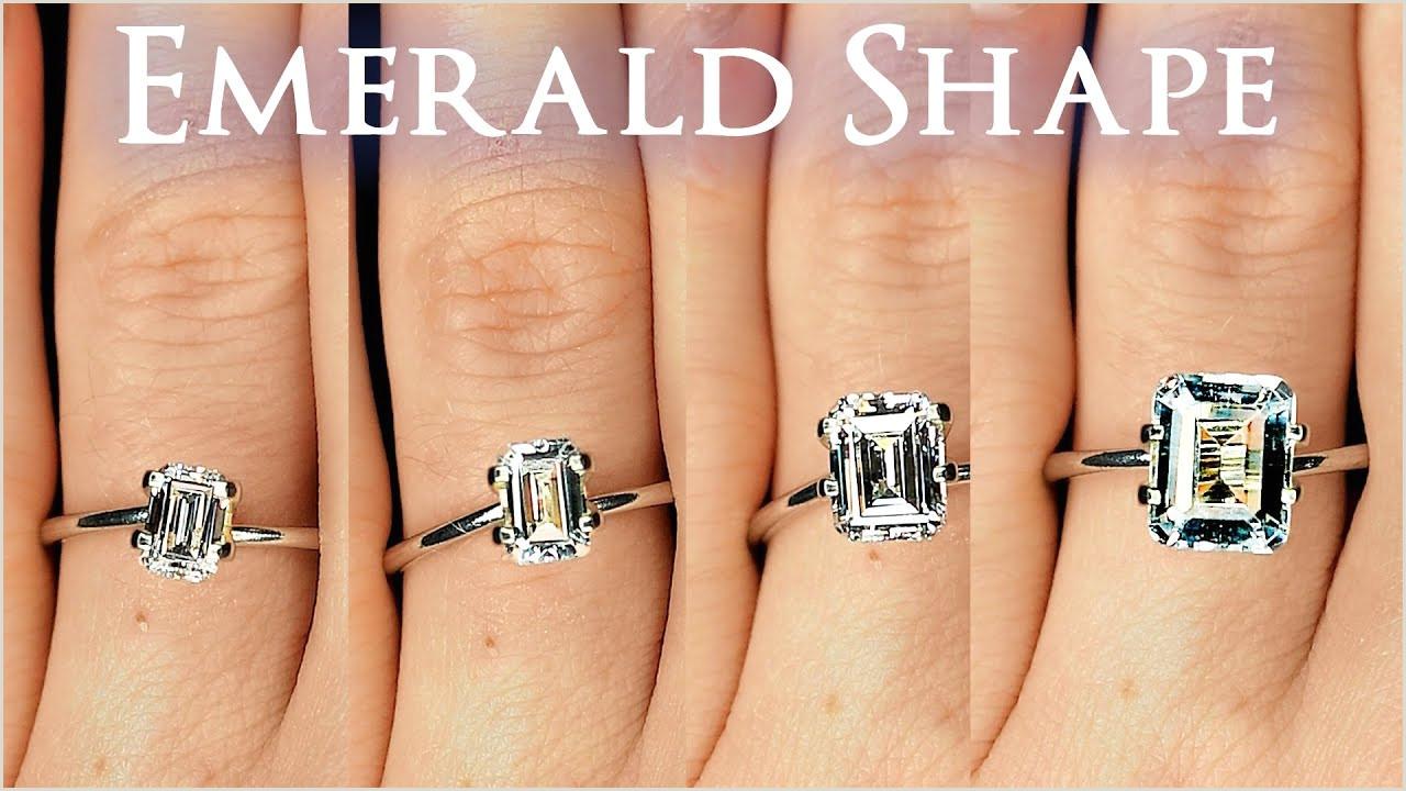 Emerald Shaped Diamond Size parison on Hand Finger Engagement Ring Cut 1 Carat 2 ct 66 3 4 1 5