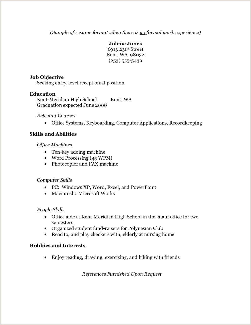 Resume for Receptionist with No Experience Elegant Resume