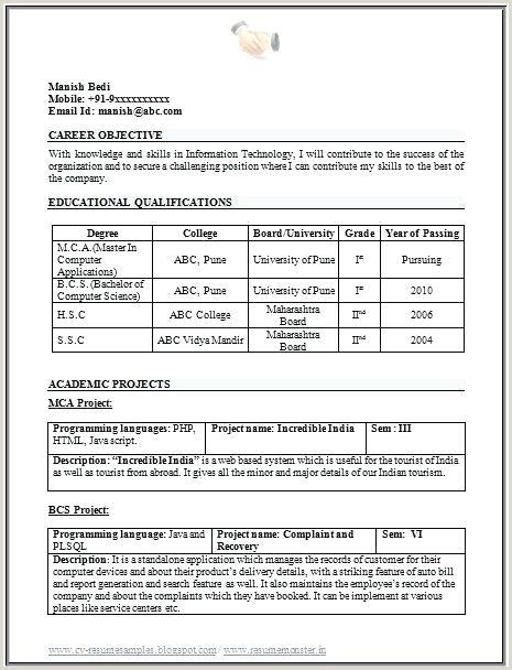 Diploma Fresher Resume Format Pdf Download Sample Resume For Freshers Pdf – Englishor