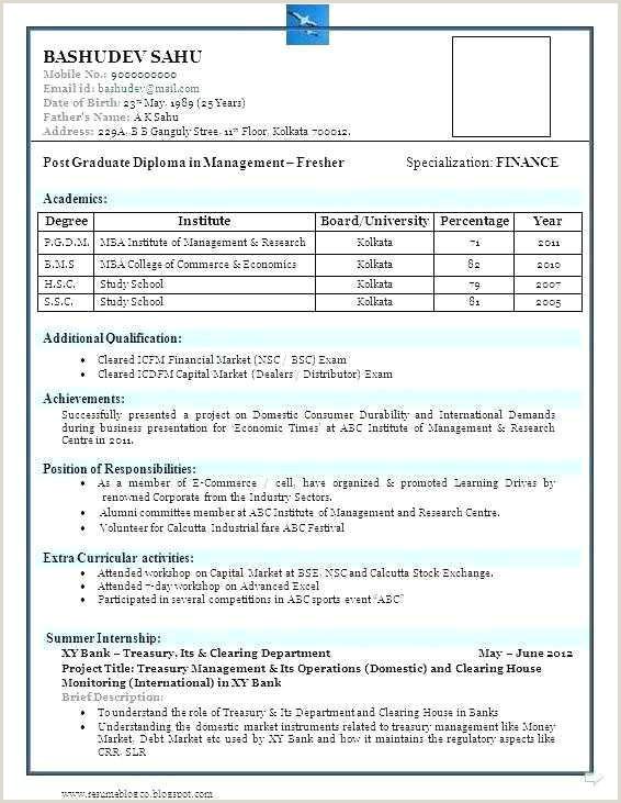 Diploma Fresher Resume format Pdf Resume formats for Fresher Sample New Sap Pp Fresher Resume