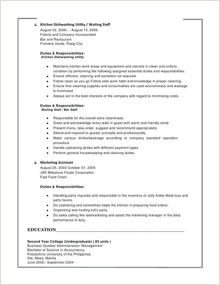 Dishwasher Utility Job Description Bar Staff Job Description