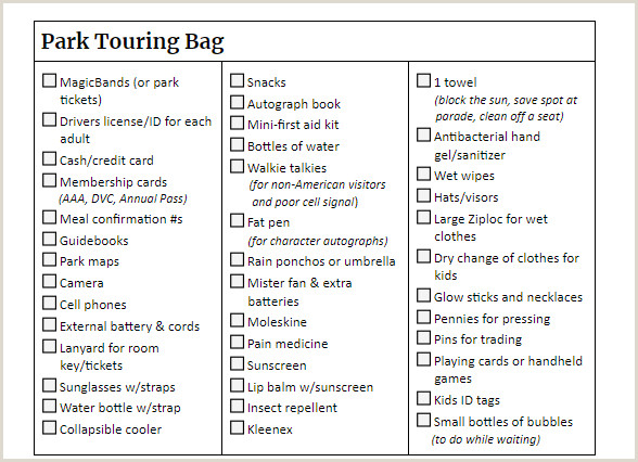 Disneyland Packing List 2015 the Ultimate Disney World Packing List Word Pdf and