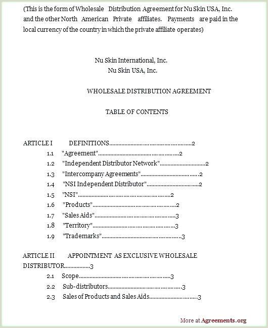 Sample Distributor Agreement Template Wonderfully Figure