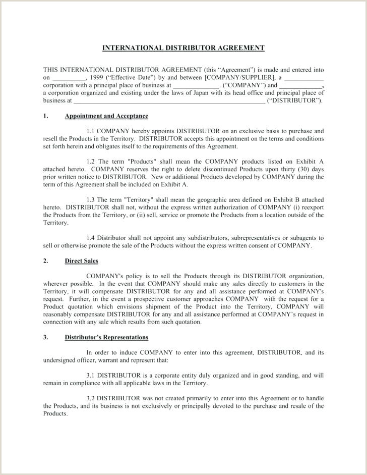 Simple Distribution Agreement Template Sample Distributor