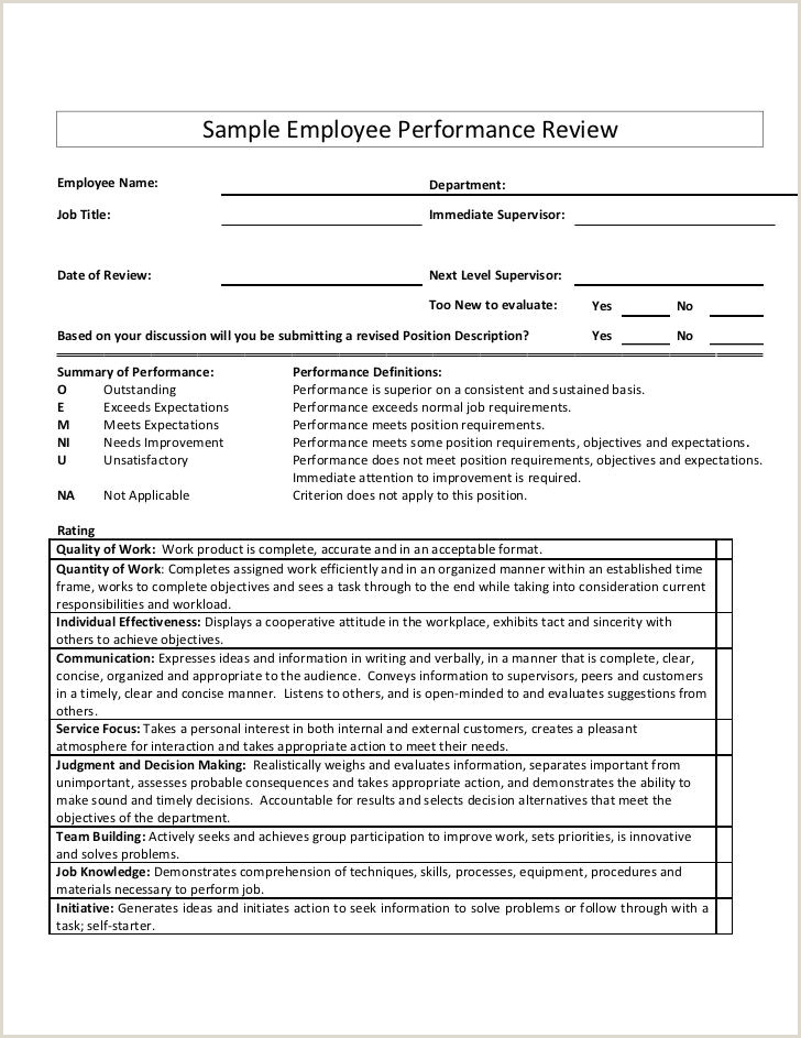 Sample Employee Performance ReviewEmployee Name Department