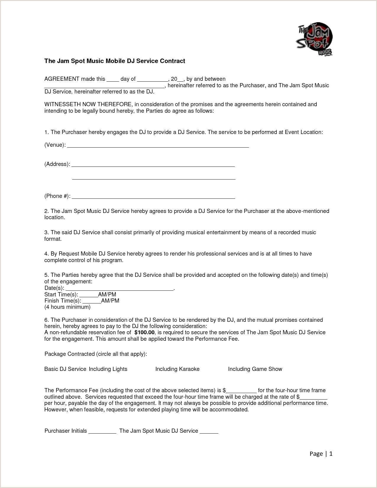 Mobile Dj Contract Template Mobile Dj Contract Template