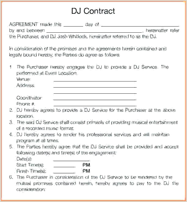 Mobile Dj Contract Template Contract Templates Sample
