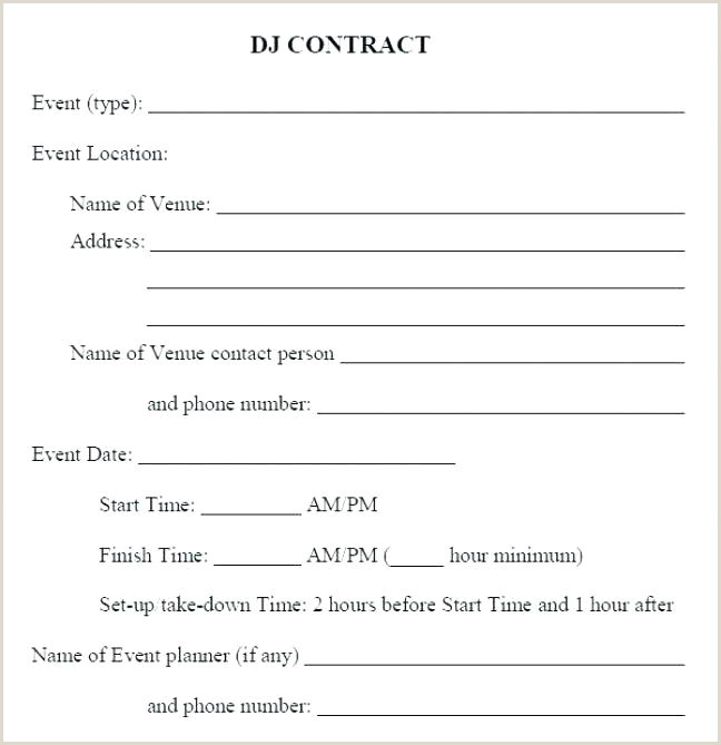 Wedding Dj Template Contract Reception Itinerary
