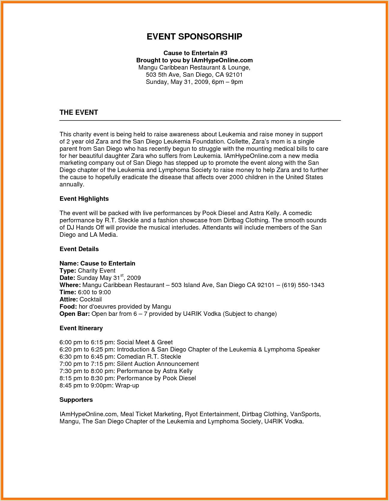 Image result for sponsorship proposal template