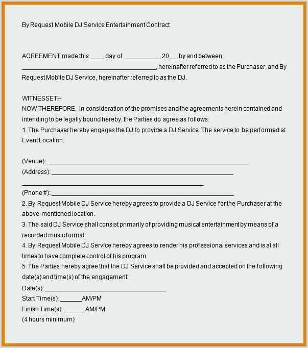 Dj Service Contract Template Mobile Dj Contract Template