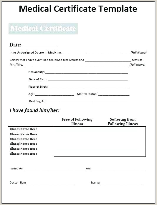 Fake Medical Certificate Template Fresh History Forms Word