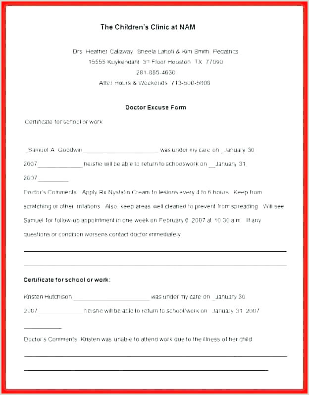 Dental Excuse Letter Template Free Doctor Notes For School