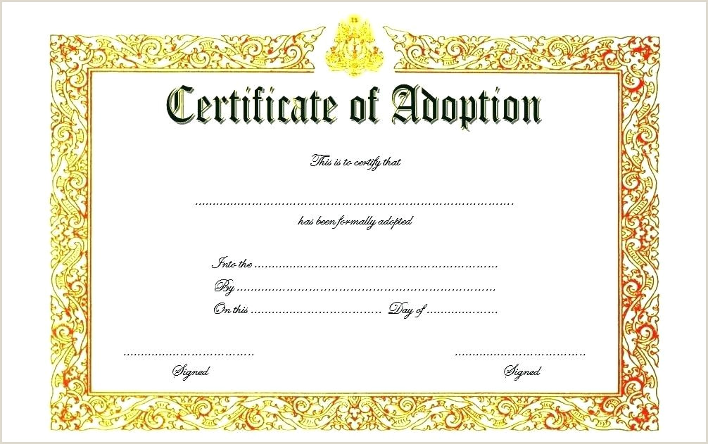 Adoption Certificate Template 3 Pet Printable Dog Free