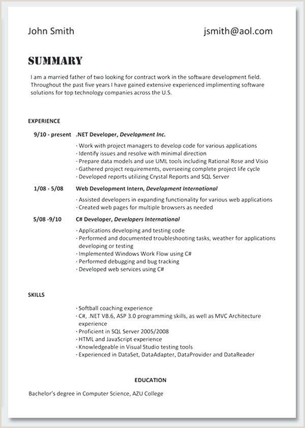 Dot Net Resume Sample Cv Experience échantillon Cv Design Resume Template Line
