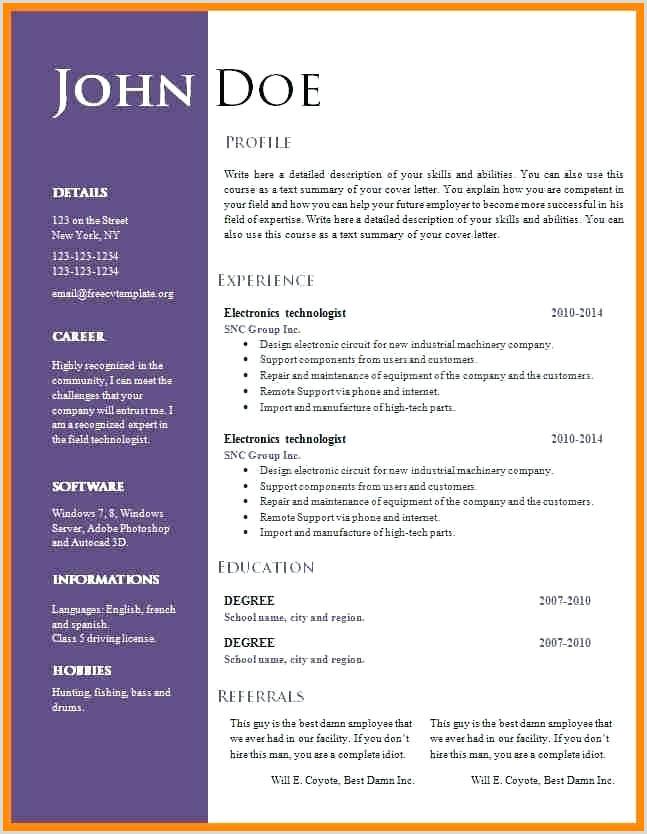 Free Resume Templates Professional Cv Format Download Best