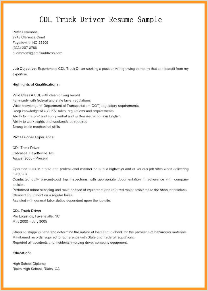 Driver Resume Examples 12 13 Cdl Class A Truck Driver Resume Sample