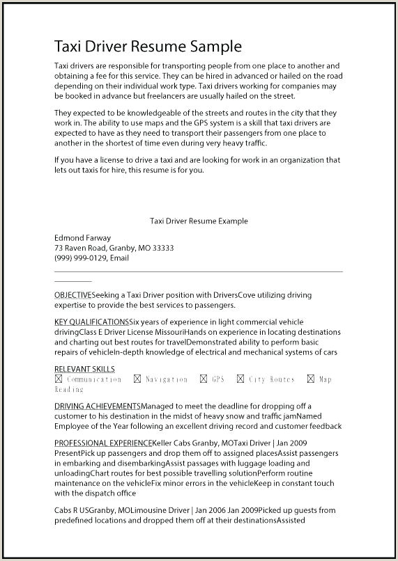 Driver Resume Examples Driver Resume Samples Free – Dstic