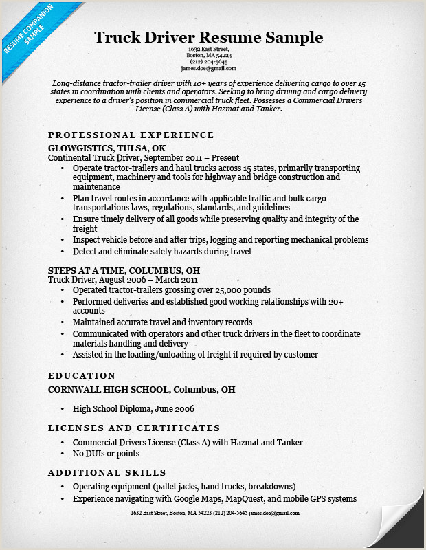 Driver Resume Examples View A Perfect Truck Driver Resume Sample and Learn How to