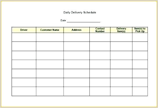 Driving Log Template Delivery Document Template Schedule Excel Free Daily