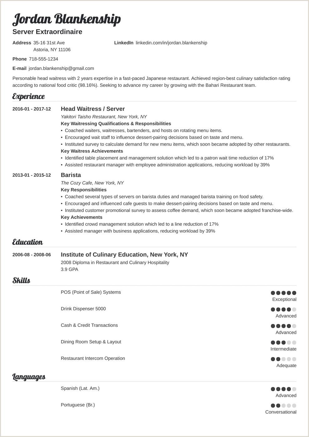 Waiter Resume Sample Pdf Examples Head Description For No
