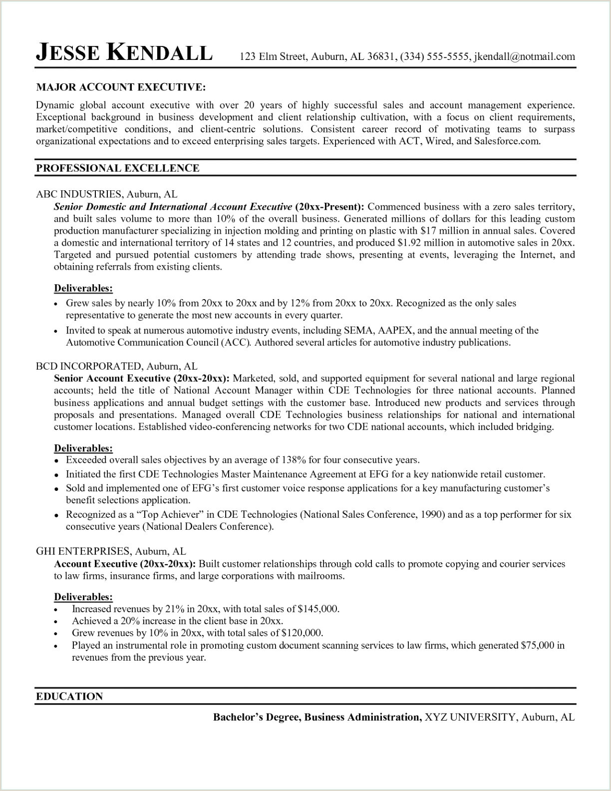 Early Childhood Resume Examples 9 Resume Examples for Regional Sales Manager