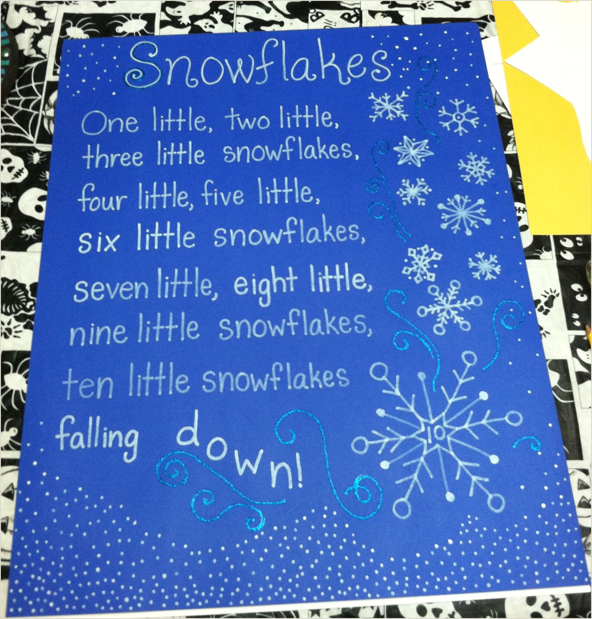 Easy Paper Snowflakes for Kindergarten Snowflake Poem song Tag Board Kindergarten Classroom