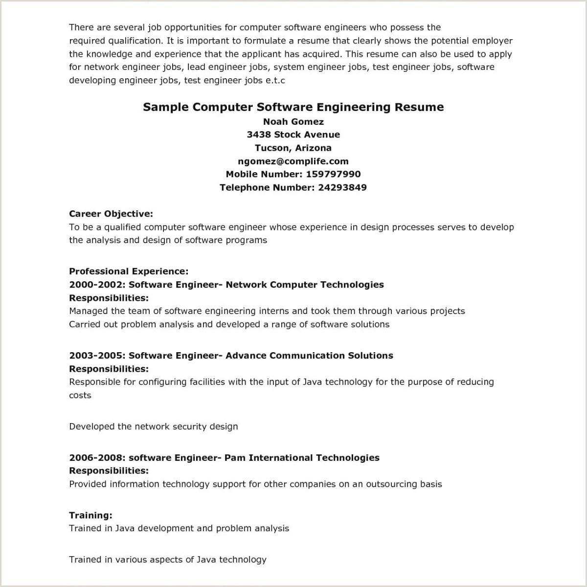Ec Engineer Resume Awesome Sample Test Engineer Resume