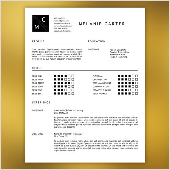 Professional Resume Template Editable in MS Word and Adobe Indesign Icons Black Modern Minimal