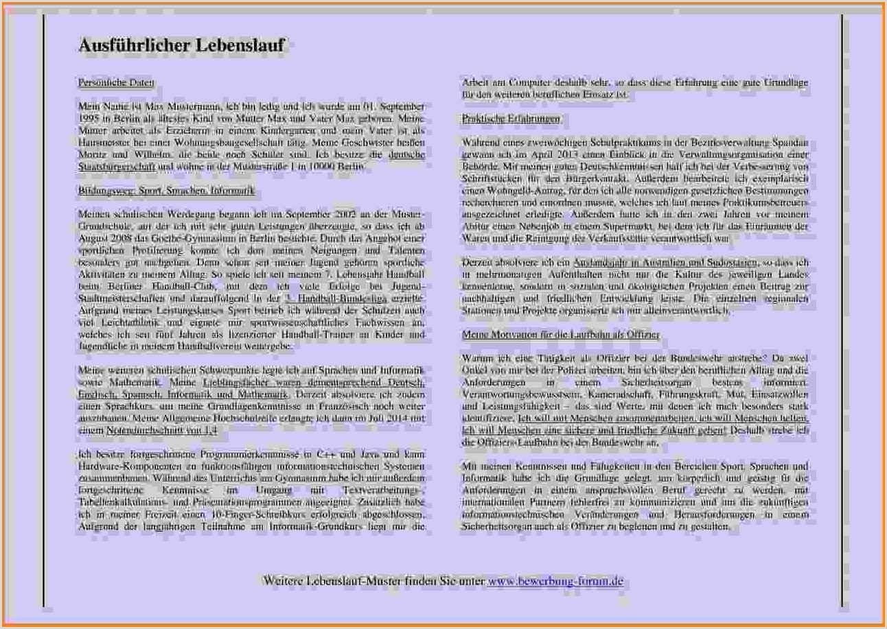 16 andschriftlicher tabellarischer lebenslauf muster