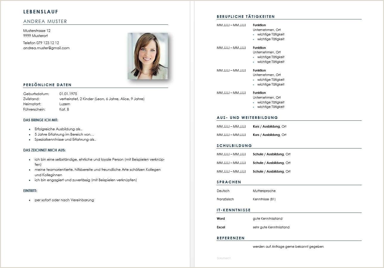 Einfacher Lebenslauf Muster Word Vorlage Lebenslauf Tabellarischer Lebenslauf Schweiz