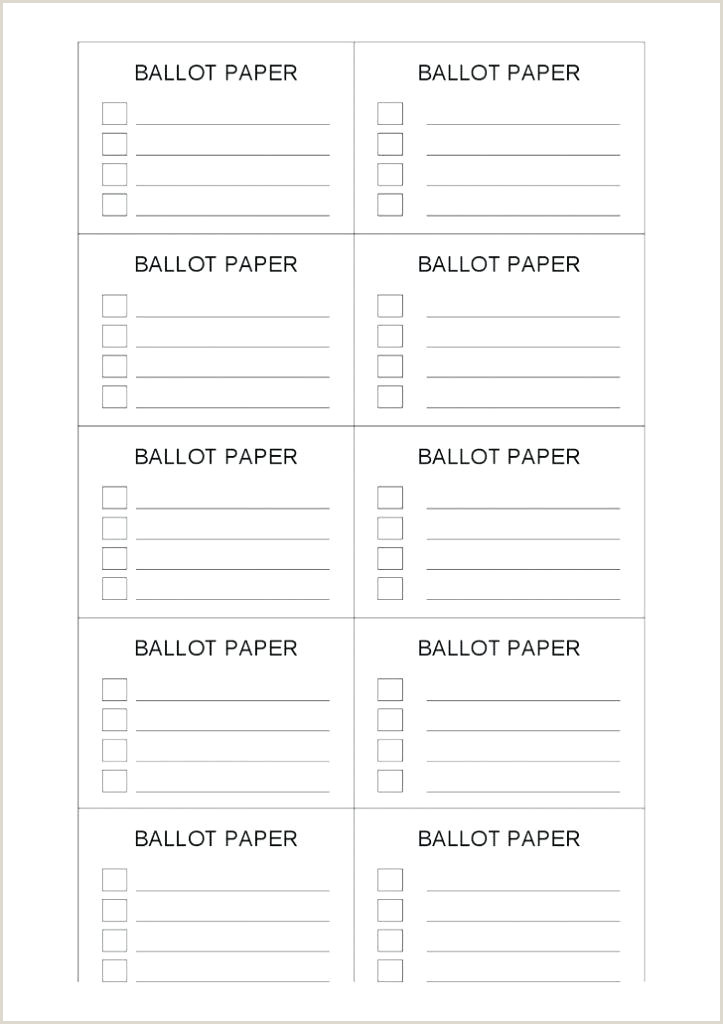 Election Ballot Template for Kids Tally Printable Ballot Template Free Templates with Voting