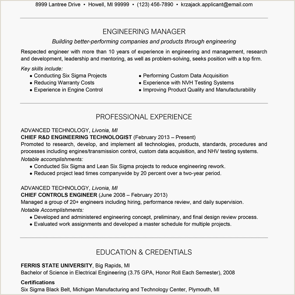 Electrical Engineer Cv format Engineer Resume Example and Writing Tips